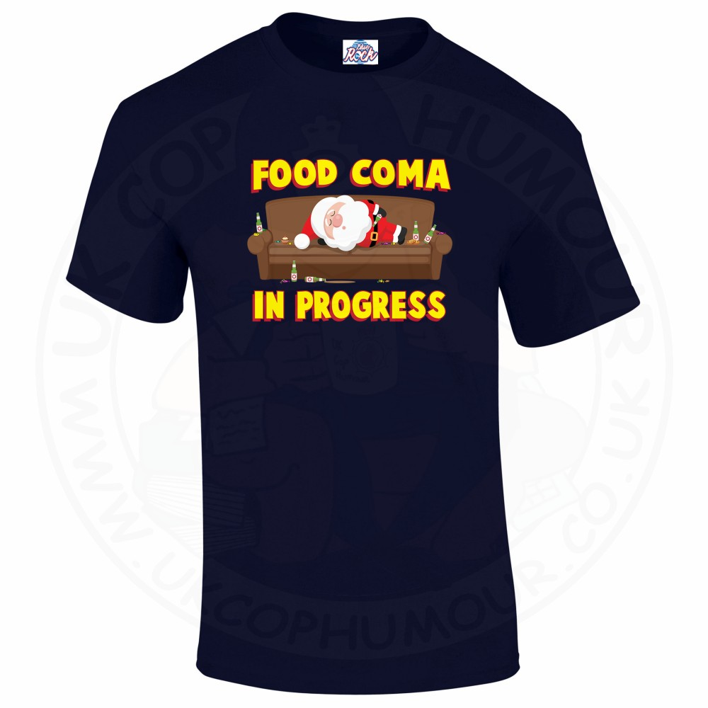 Mens FOOD COMA IN PROGESS T-Shirt - Navy, 5XL