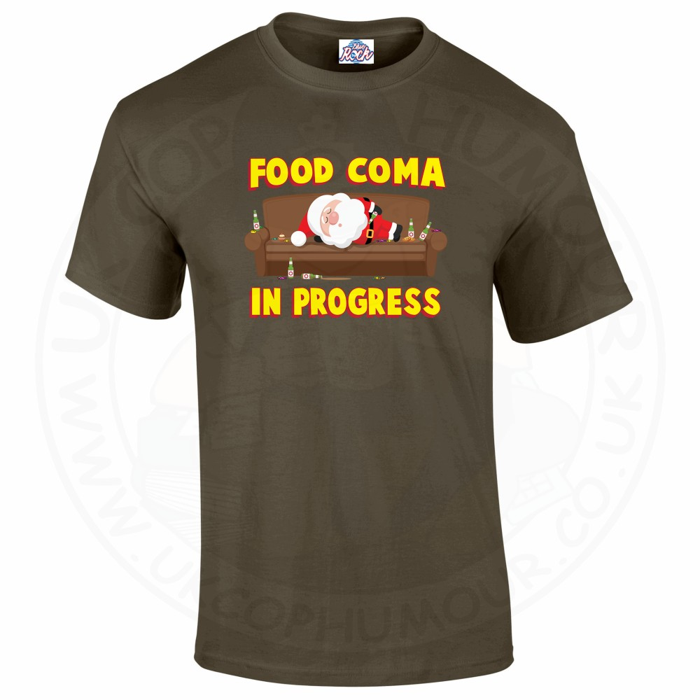 Mens FOOD COMA IN PROGESS T-Shirt - Olive Green, 2XL