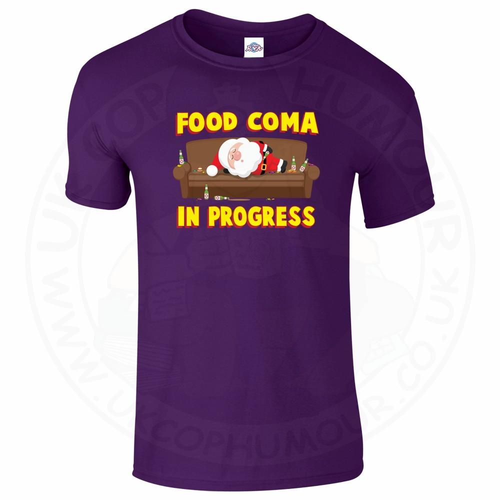 Mens FOOD COMA IN PROGESS T-Shirt - Purple, 2XL
