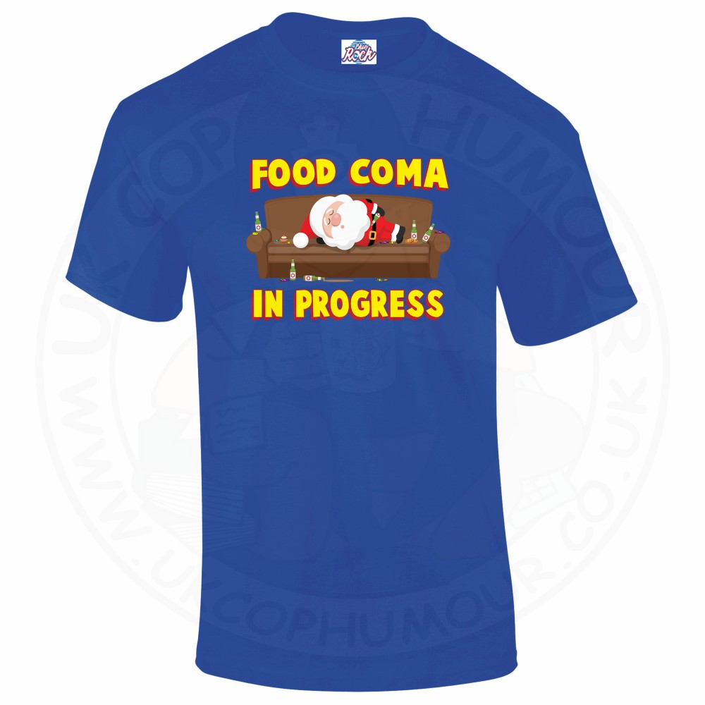 Mens FOOD COMA IN PROGESS T-Shirt - Royal Blue, 5XL
