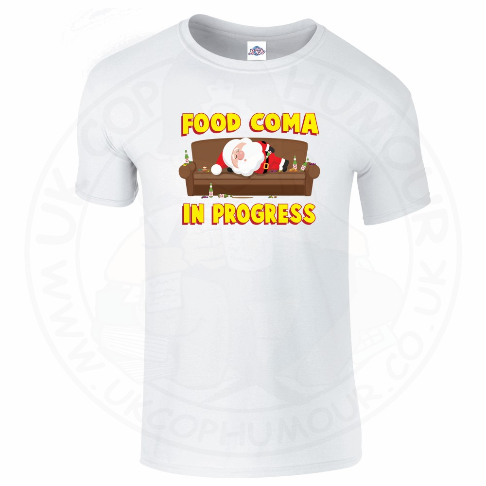 Mens FOOD COMA IN PROGESS T-Shirt - White, 5XL