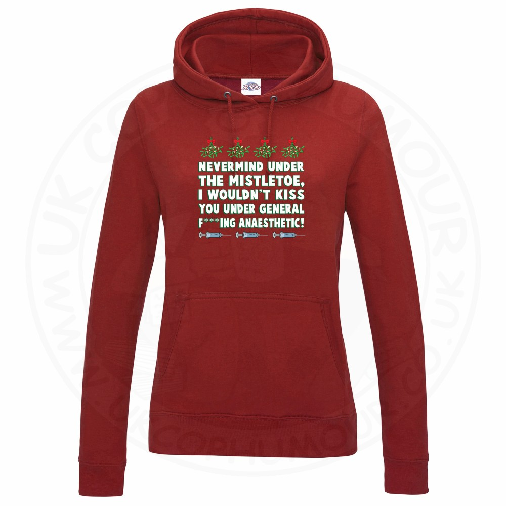 Ladies MISTLETOE ANAESTHETIC Hoodie - Red, 18