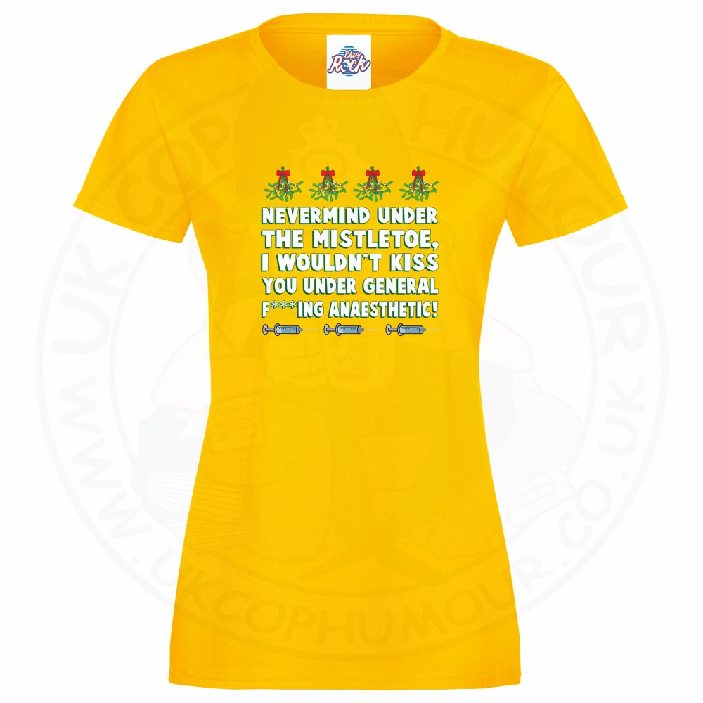 Ladies MISTLETOE ANAESTHETIC T-Shirt - Yellow, 18
