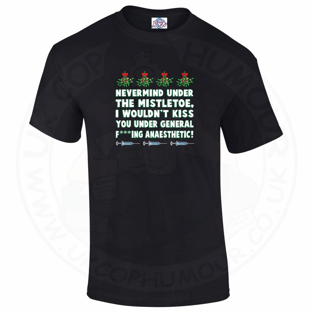 Mens MISTLETOE ANAESTHETIC T-Shirt - Black, 5XL