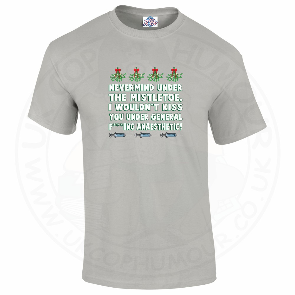 Mens MISTLETOE ANAESTHETIC T-Shirt - Grey, 5XL