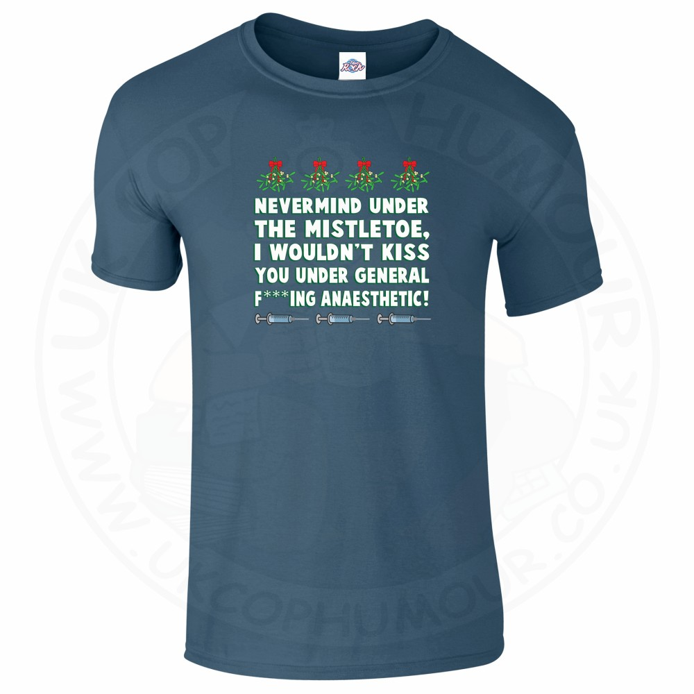 Mens MISTLETOE ANAESTHETIC T-Shirt - Indigo Blue, 2XL