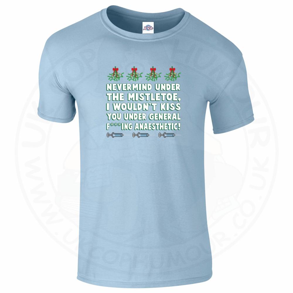 Mens MISTLETOE ANAESTHETIC T-Shirt - Light Blue, 2XL