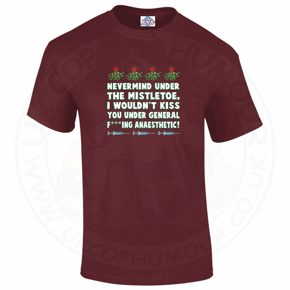 Mens MISTLETOE ANAESTHETIC T-Shirt - Maroon, 2XL