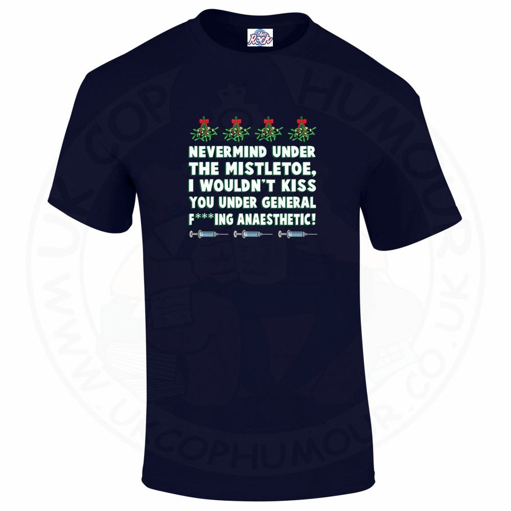 Mens MISTLETOE ANAESTHETIC T-Shirt - Navy, 5XL