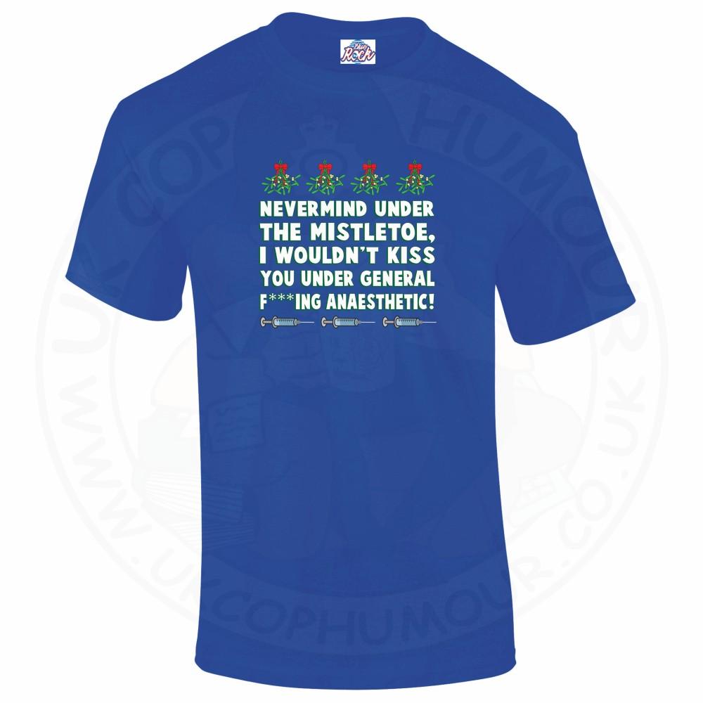 Mens MISTLETOE ANAESTHETIC T-Shirt - Royal Blue, 5XL