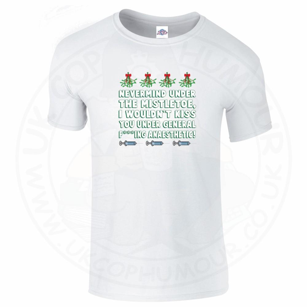 Mens MISTLETOE ANAESTHETIC T-Shirt - White, 5XL