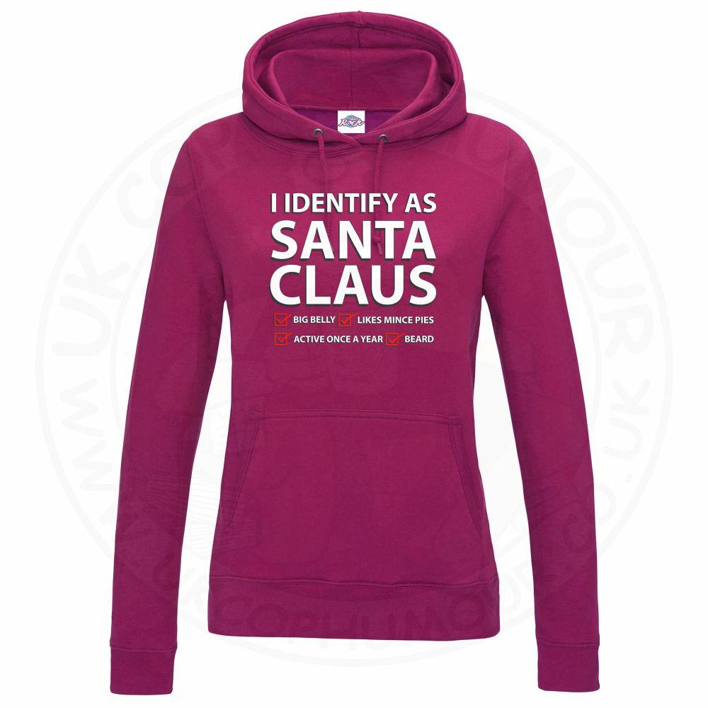 Ladies I IDENTIFY AS SANTA CLAUS Hoodie - Hot Pink, 18