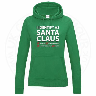 Ladies I IDENTIFY AS SANTA CLAUS Hoodie - Kelly Green, 18