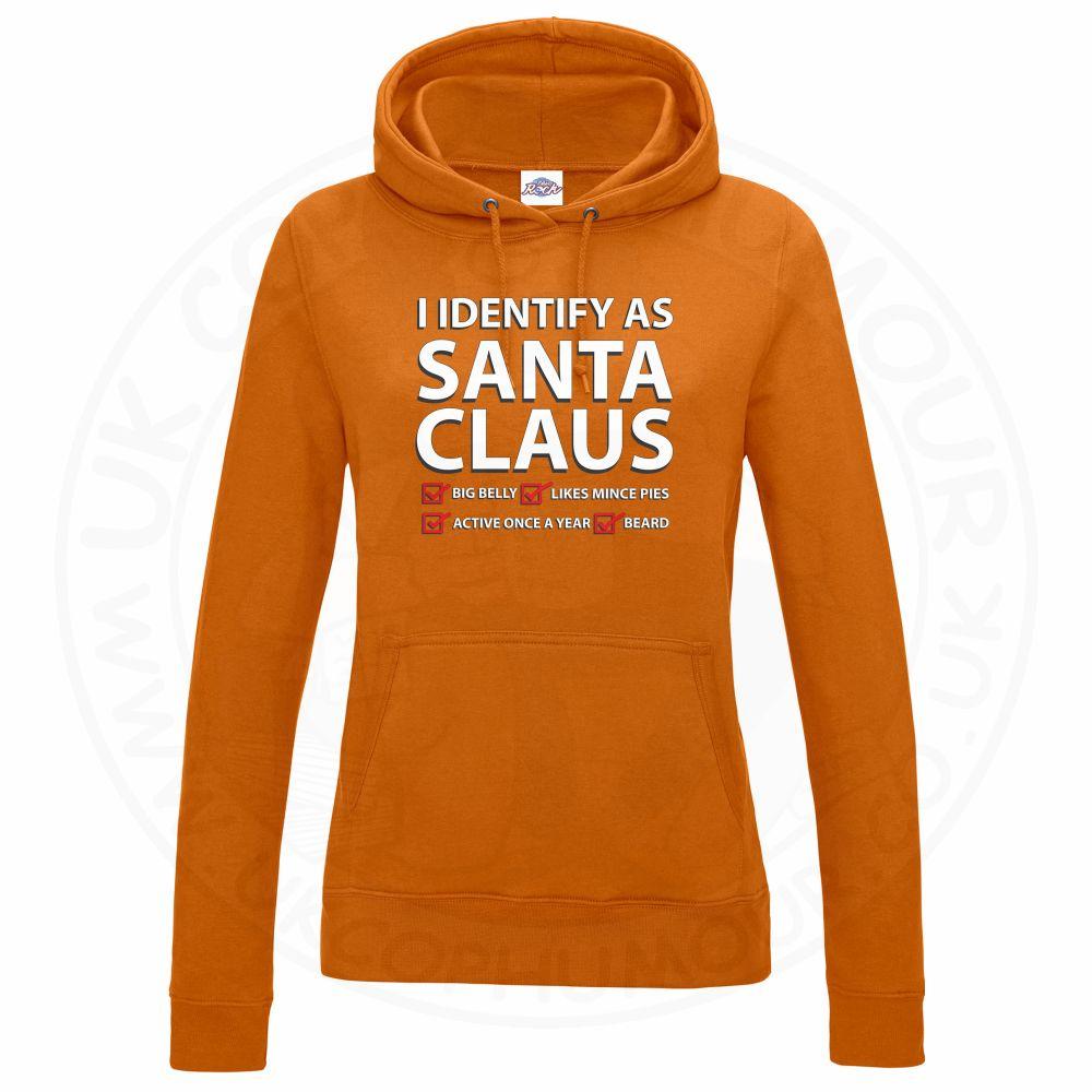 Ladies I IDENTIFY AS SANTA CLAUS Hoodie - Orange, 18