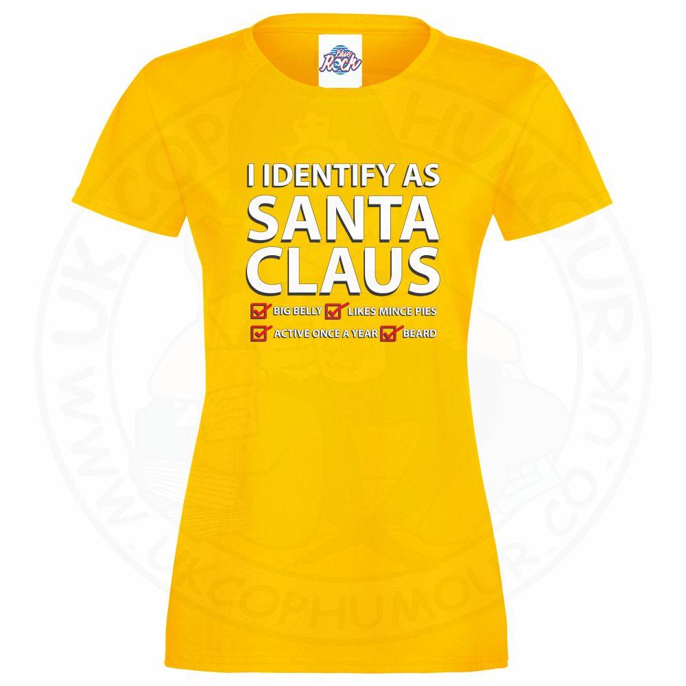 Ladies I IDENTIFY AS SANTA CLAUS T-Shirt - Yellow, 18
