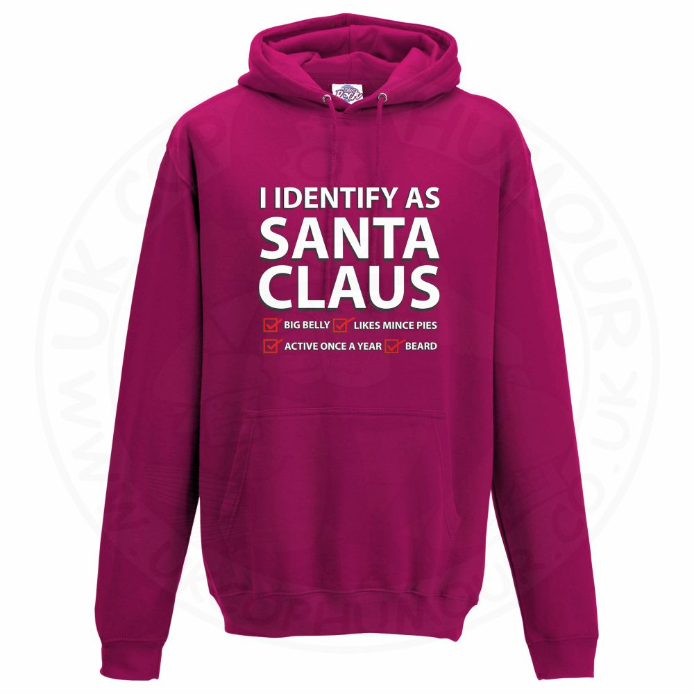 Unisex I IDENTIFY AS SANTA CLAUS Hoodie - Hot Pink, 2XL