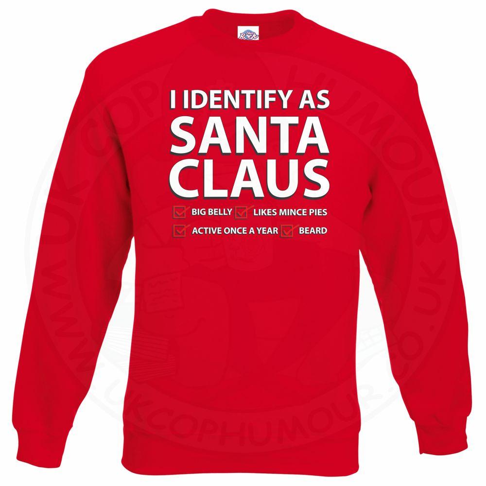 I IDENTIFY AS SANTA CLAUS Sweatshirt - Red, 2XL