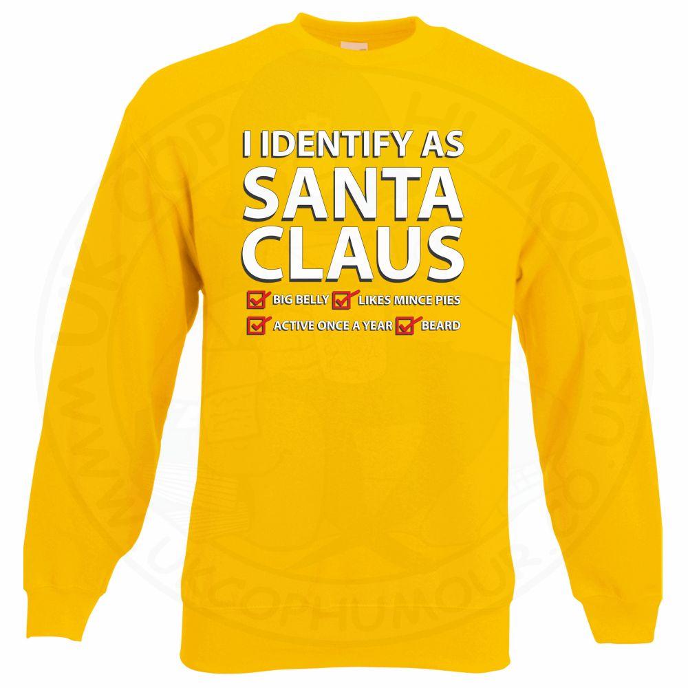 I IDENTIFY AS SANTA CLAUS Sweatshirt - Yellow, 2XL