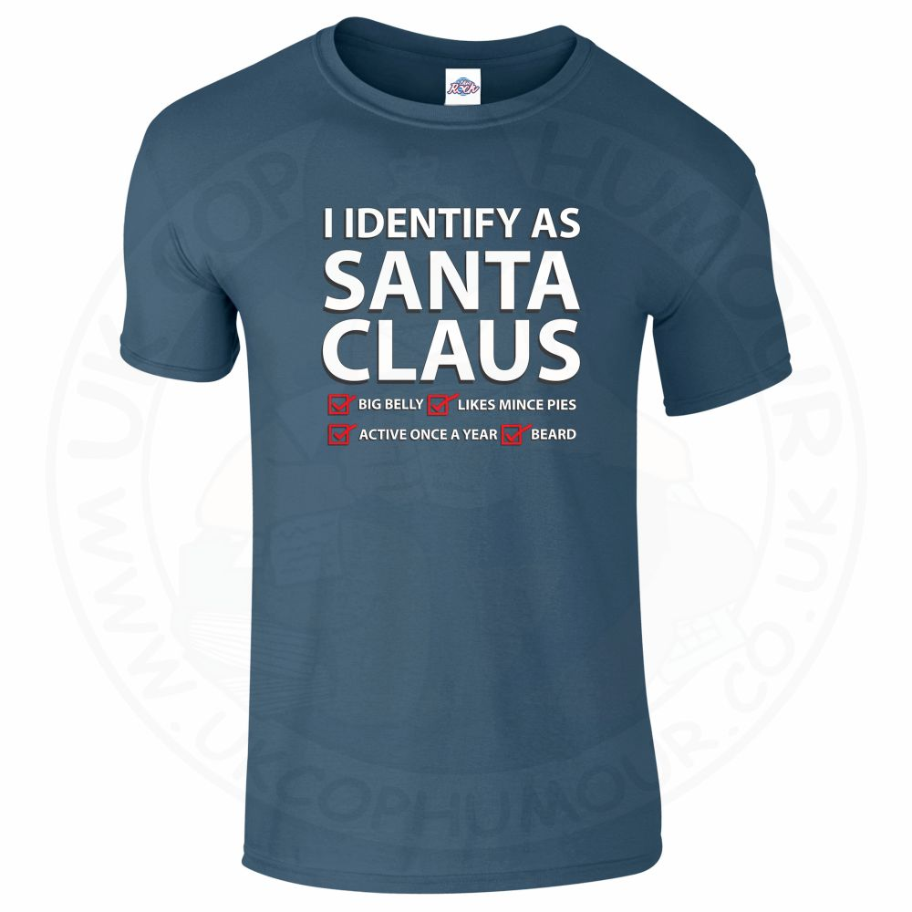 Mens I IDENTIFY AS SANTA CLAUS T-Shirt - Indigo Blue, 2XL