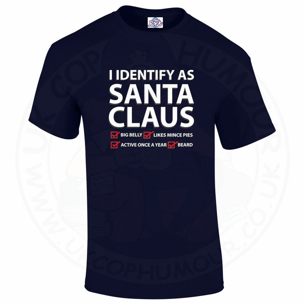 Mens I IDENTIFY AS SANTA CLAUS T-Shirt - Navy, 5XL