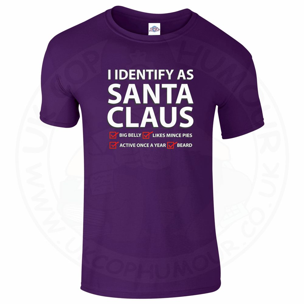 Mens I IDENTIFY AS SANTA CLAUS T-Shirt - Purple, 2XL