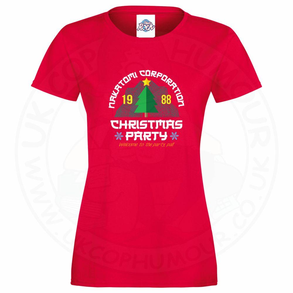 Ladies NAKATOMI CORP CHRISTMAS T-Shirt - Red, 18