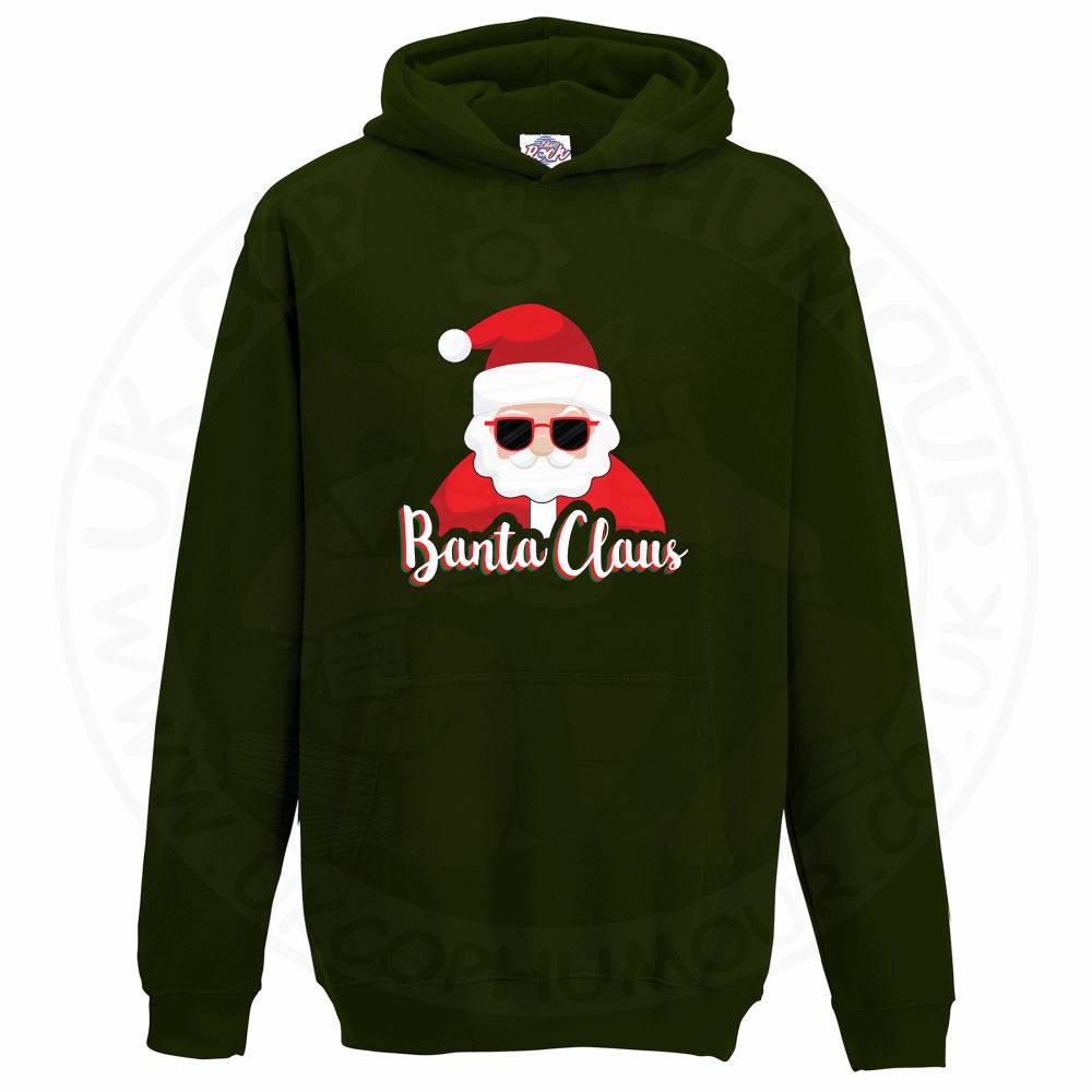 Kids BANTA CLAUS Hoodie - Bottle Green, 12-13 Years