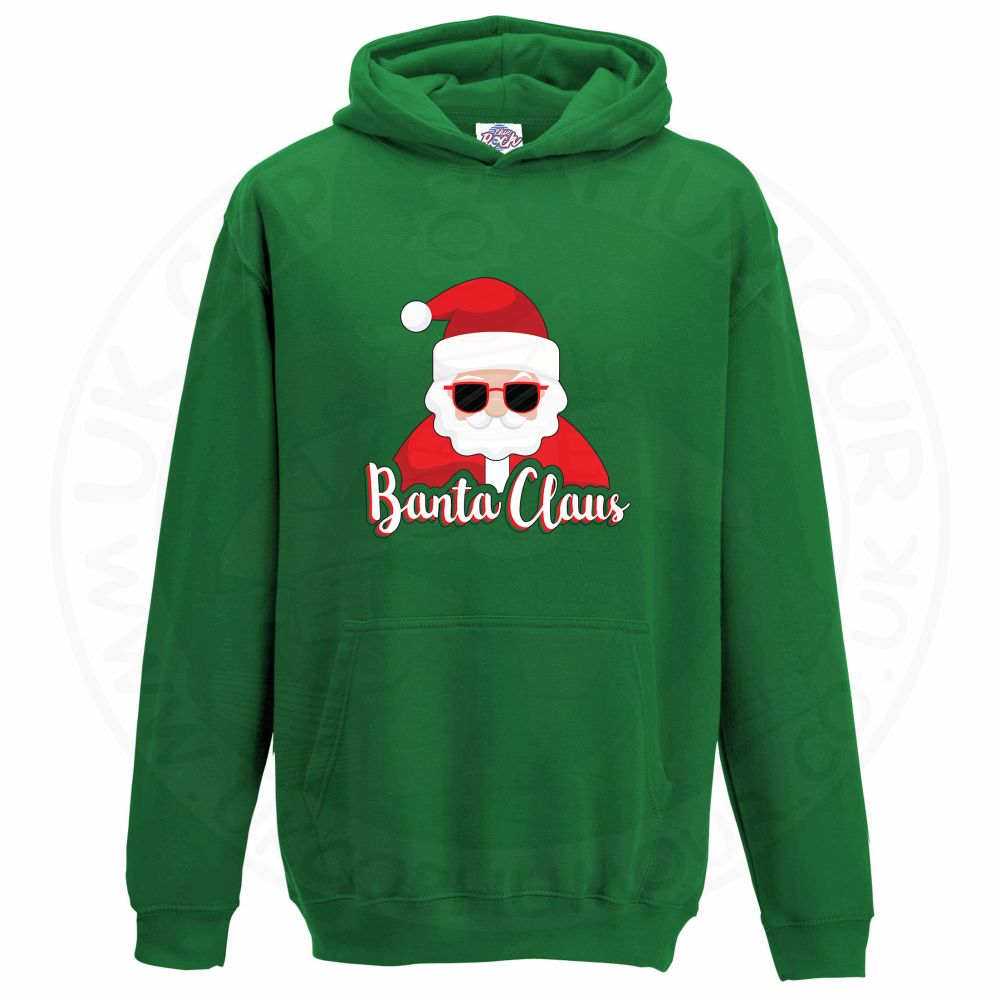 Kids BANTA CLAUS Hoodie - Kelly Green, 12-13 Years