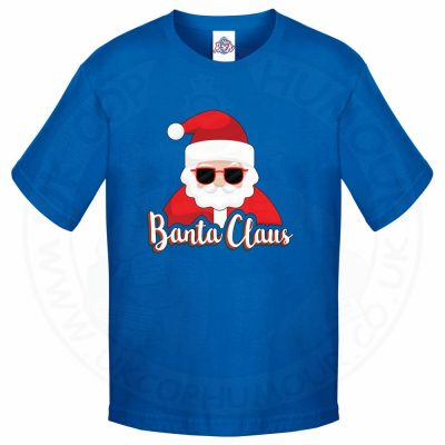 Kids BANTA CLAUS T-Shirt - Royal Blue, 12-13 Years