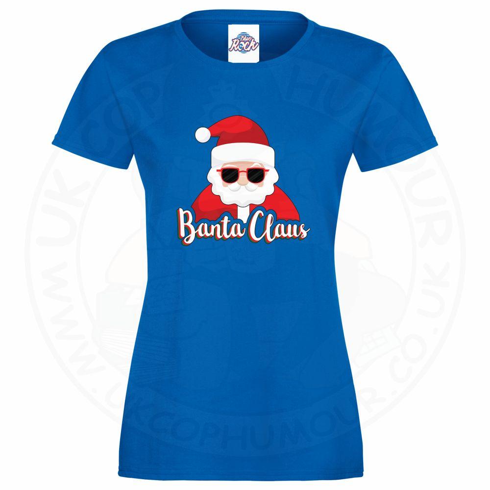 Ladies BANTA CLAUS T-Shirt - Royal Blue, 18
