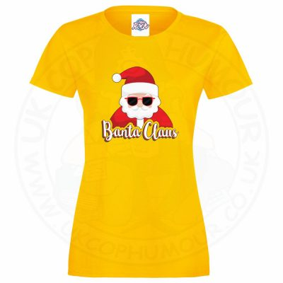 Ladies BANTA CLAUS T-Shirt - Yellow, 18