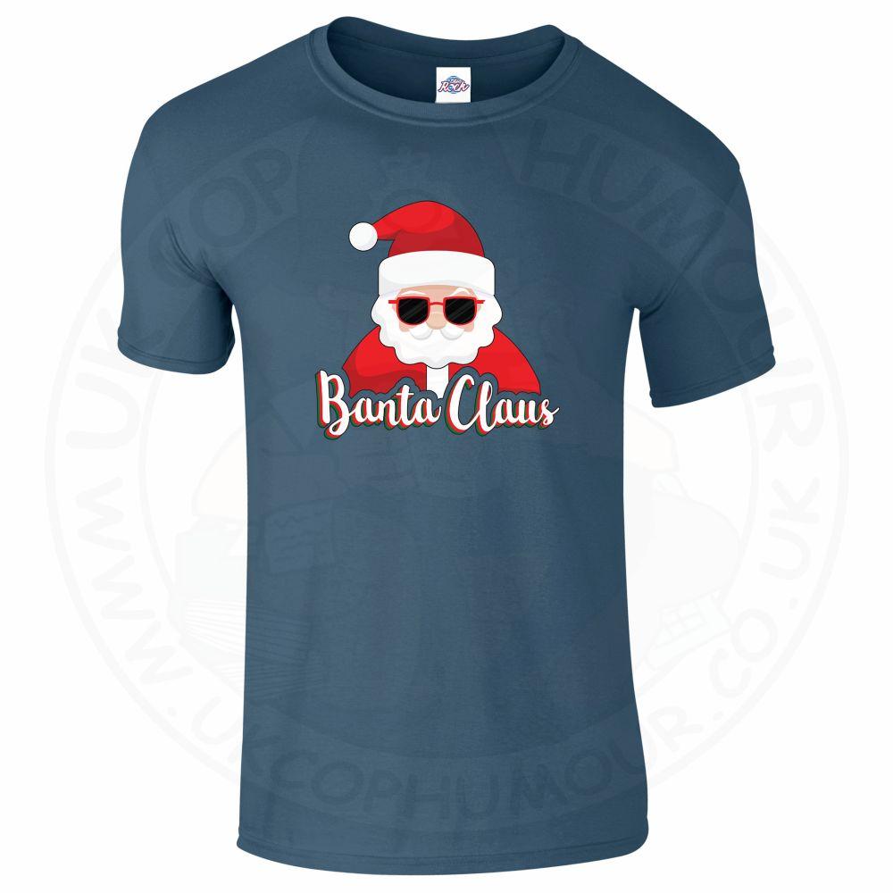 Mens BANTA CLAUS T-Shirt - Indigo Blue, 2XL