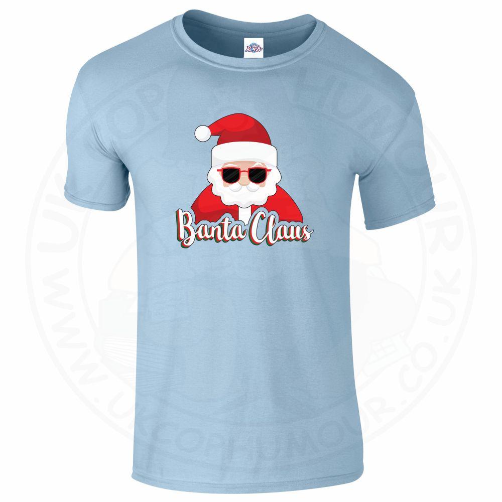 Mens BANTA CLAUS T-Shirt - Light Blue, 2XL
