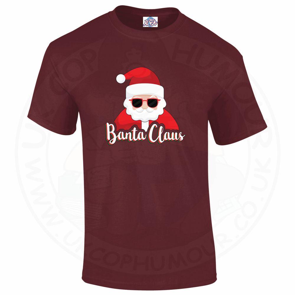 Mens BANTA CLAUS T-Shirt - Maroon, 2XL