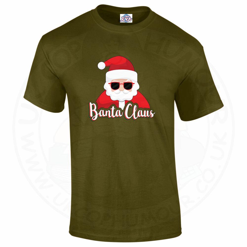 Mens BANTA CLAUS T-Shirt - Military Green, 2XL