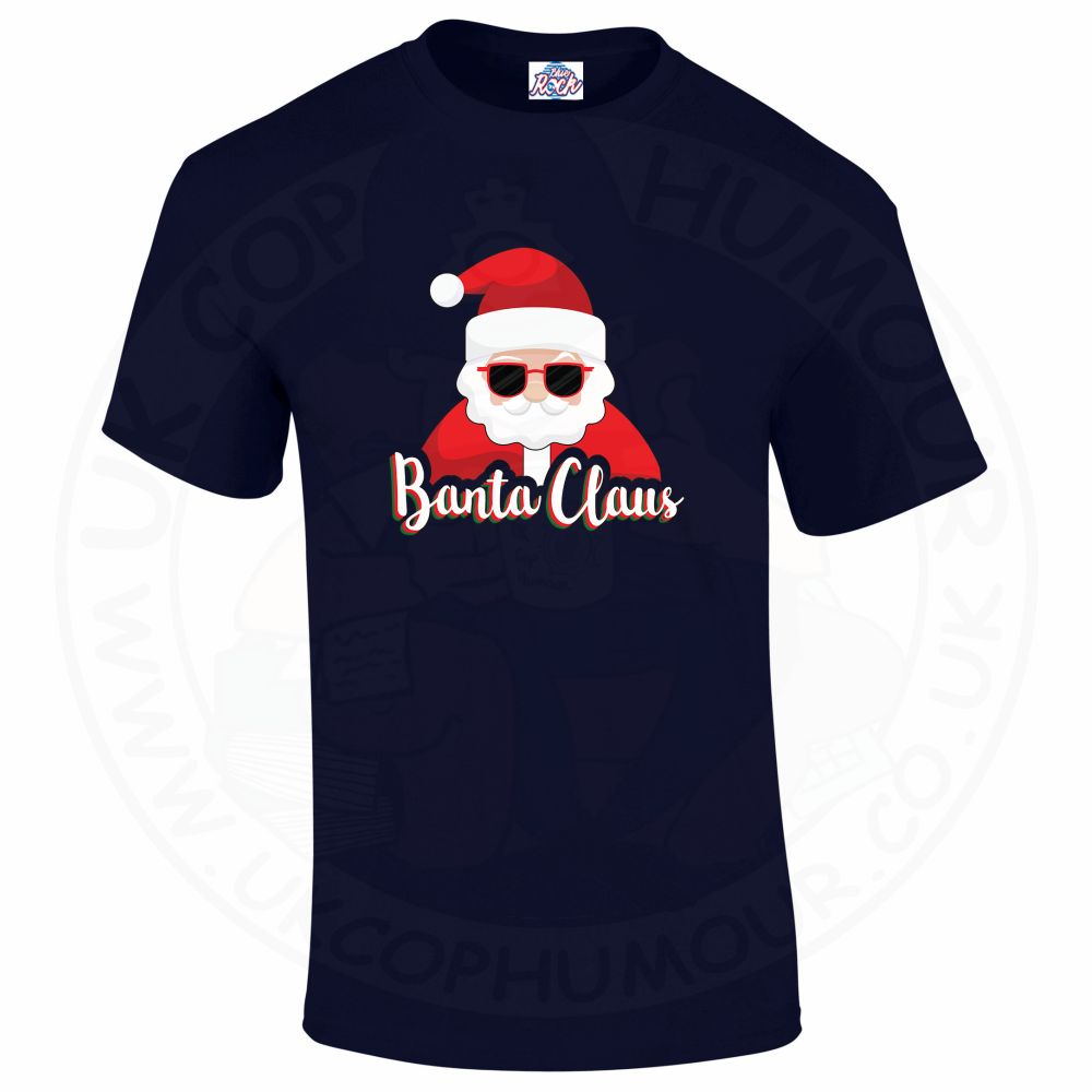 Mens BANTA CLAUS T-Shirt - Navy, 5XL