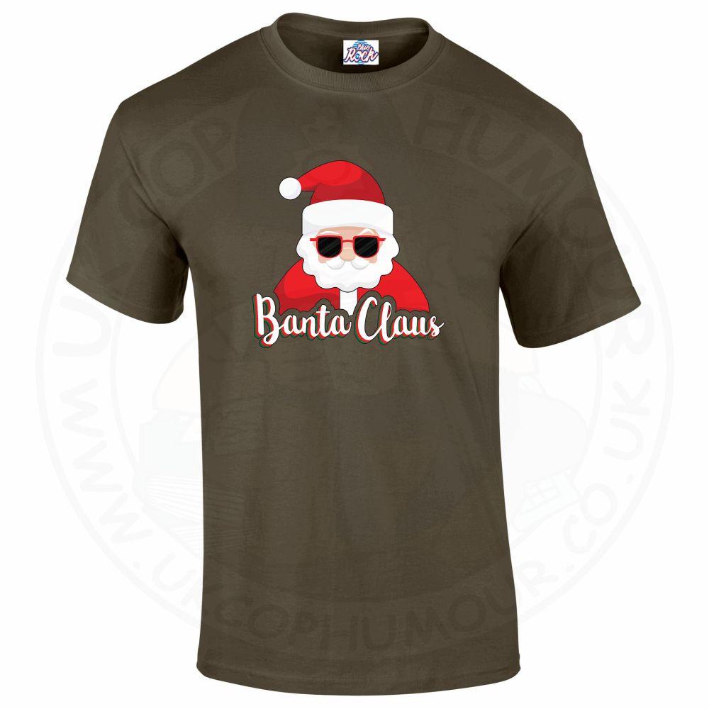 Mens BANTA CLAUS T-Shirt - Olive Green, 2XL