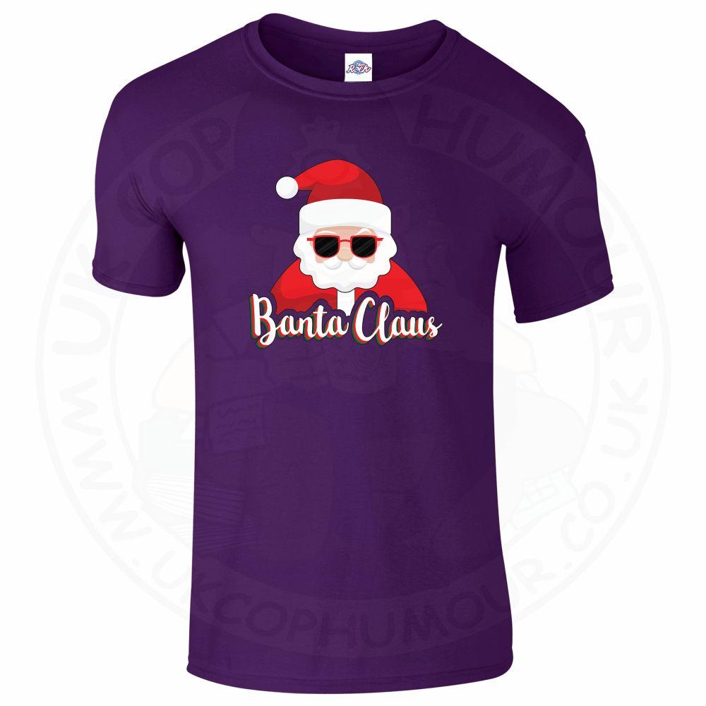 Mens BANTA CLAUS T-Shirt - Purple, 2XL