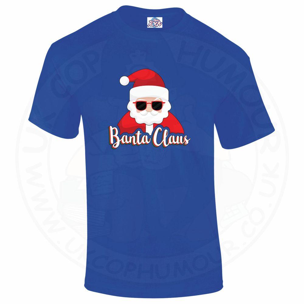 Mens BANTA CLAUS T-Shirt - Royal Blue, 5XL