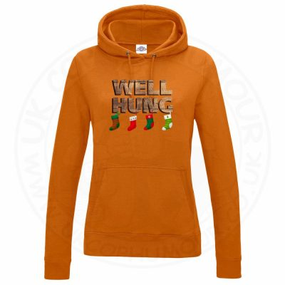 Ladies WELL HUNG Hoodie - Orange, 18