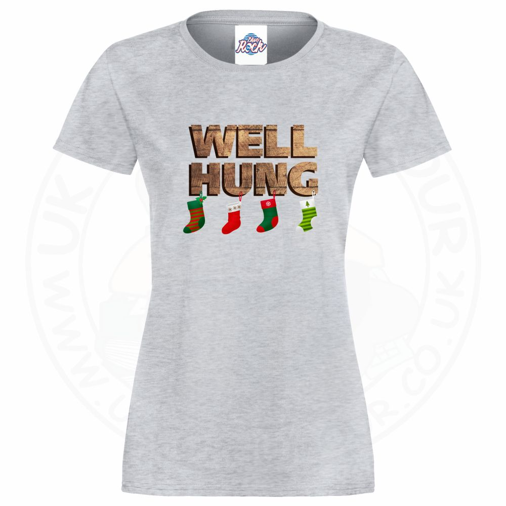 Ladies WELL HUNG T-Shirt - Heather Grey, 18