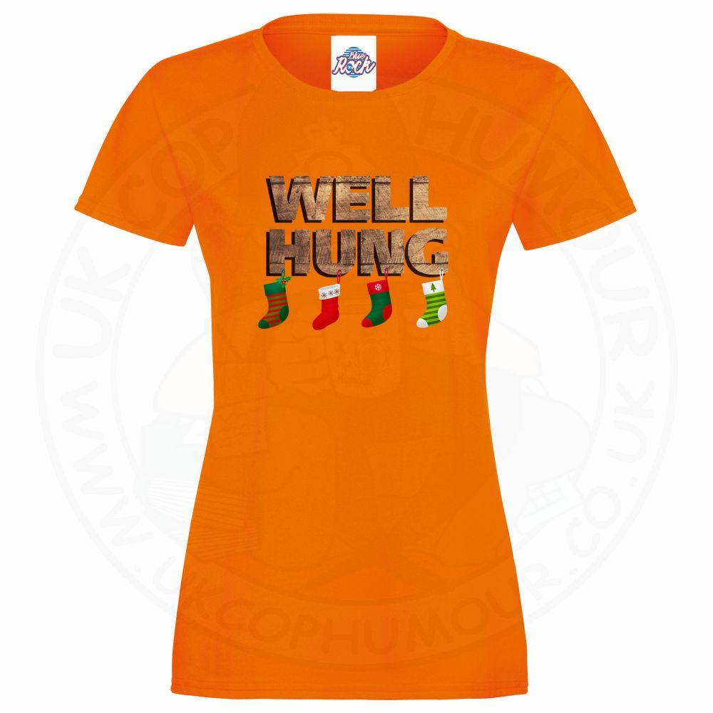 Ladies WELL HUNG T-Shirt - Orange, 18