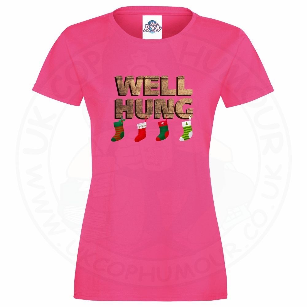 Ladies WELL HUNG T-Shirt - Pink, 18
