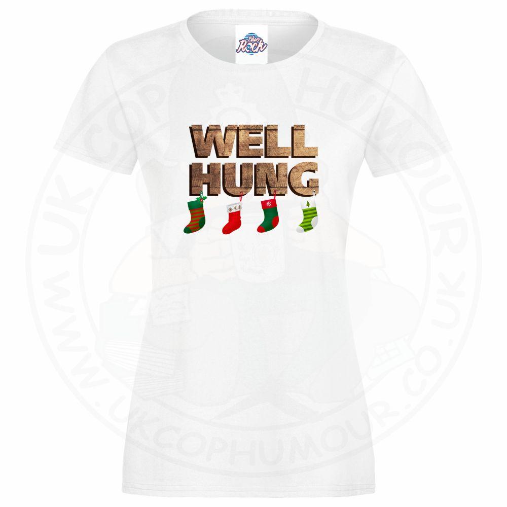 Ladies WELL HUNG T-Shirt - White, 18