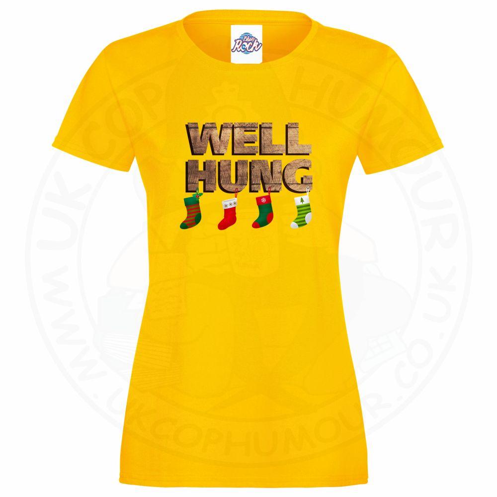 Ladies WELL HUNG T-Shirt - Yellow, 18