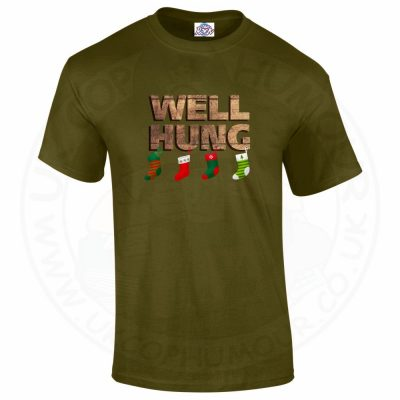 Mens WELL HUNG T-Shirt - Military Green, 2XL