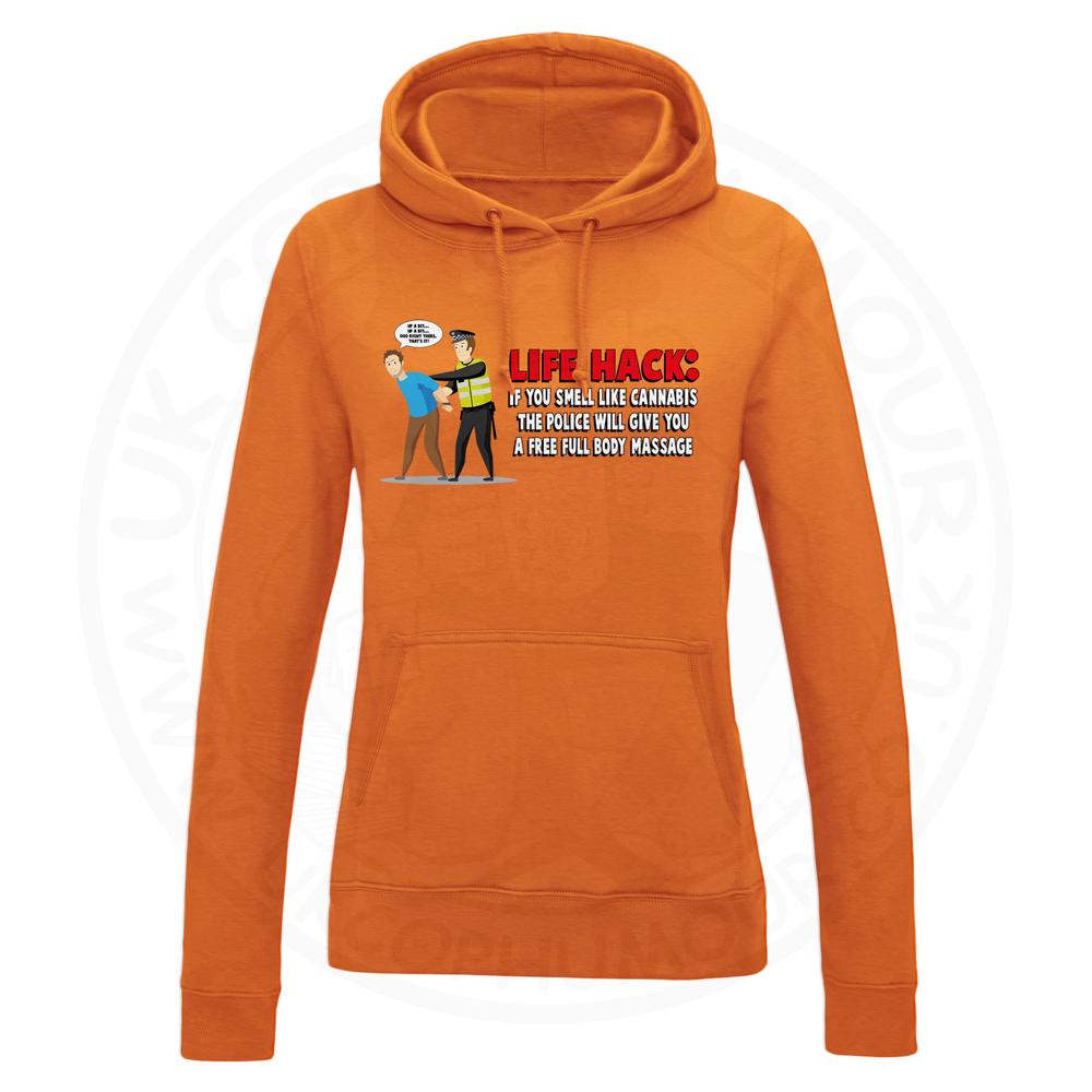 Ladies Free Body Massage Hoodie - Orange, 18