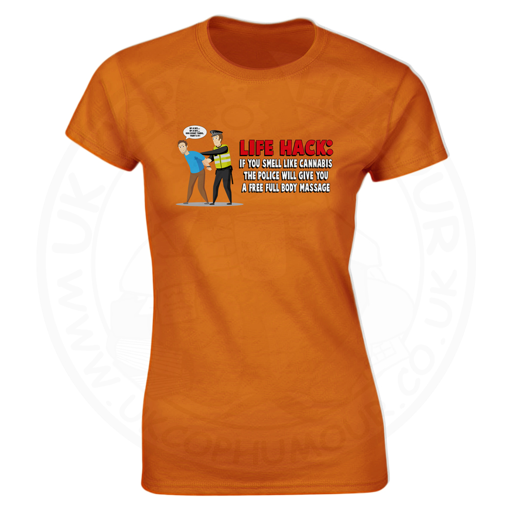 Ladies Free Body Massage T-Shirt - Orange, 18