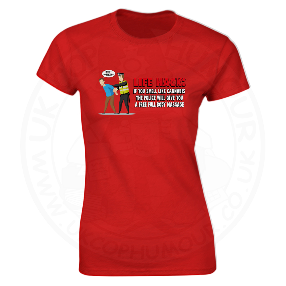 Ladies Free Body Massage T-Shirt - Red, 8