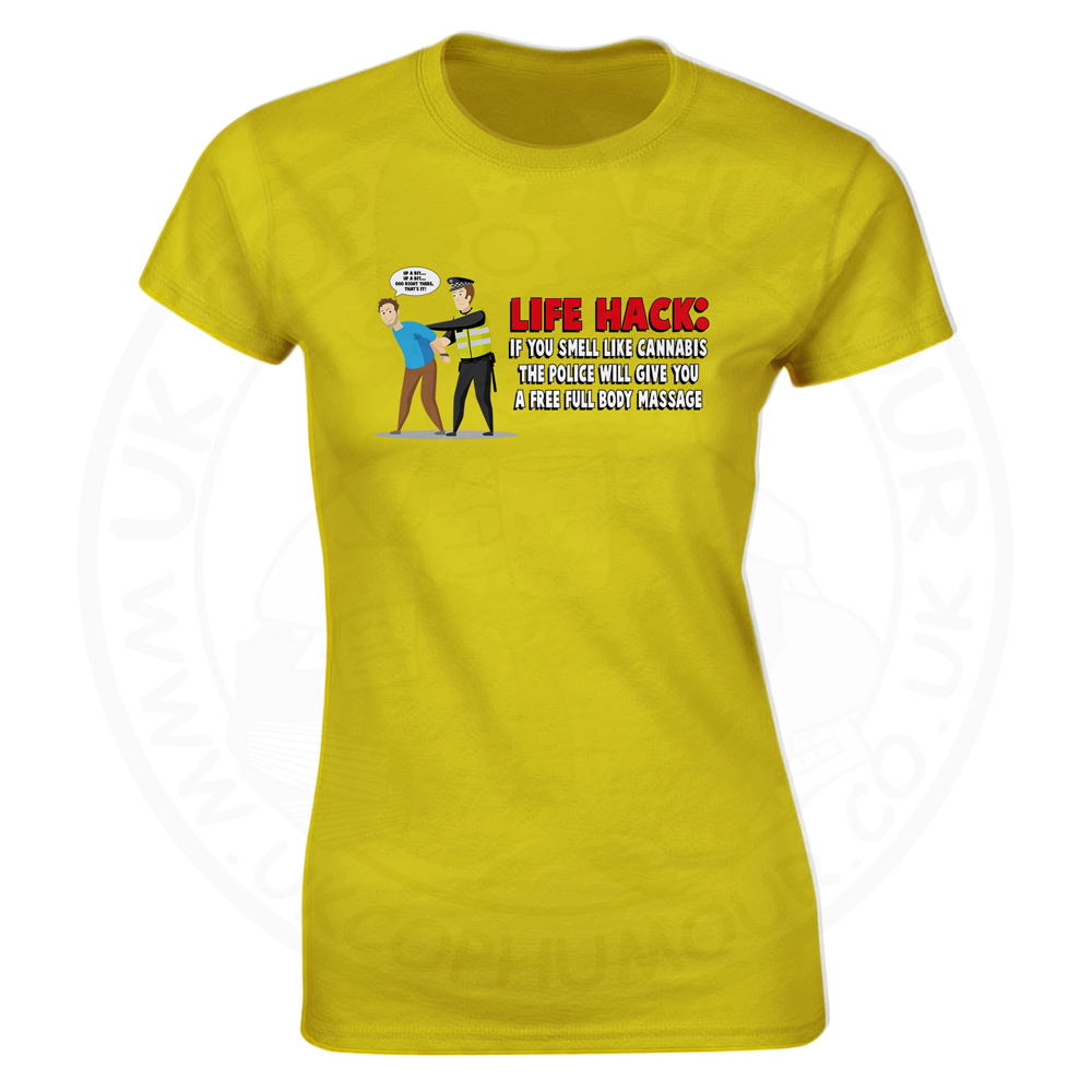 Ladies Free Body Massage T-Shirt - Yellow, 18